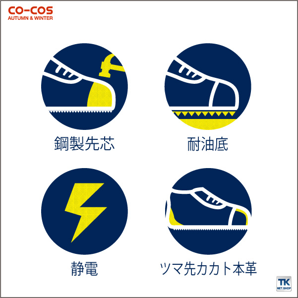 半長靴マジック セーフティーシューズ 鉄鋼製先芯 CO-COS コーコス 安全靴 S FORCE 半長靴マジック セーフティーシューズ cc-ZA-49