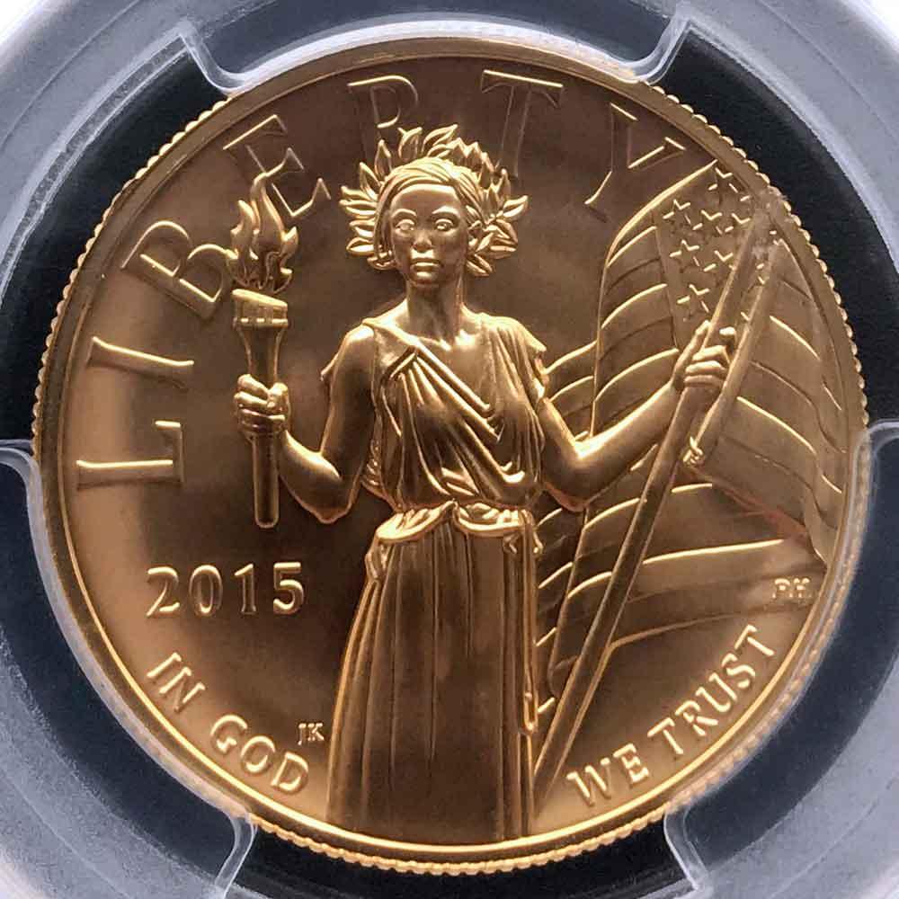 2015 アメリカ ハイレリーフ 自由の女神 リバティ 100ドル 金貨 1オンス 未使用 PCGS MS70 FS 初鋳版 最高鑑定 完全未使用品