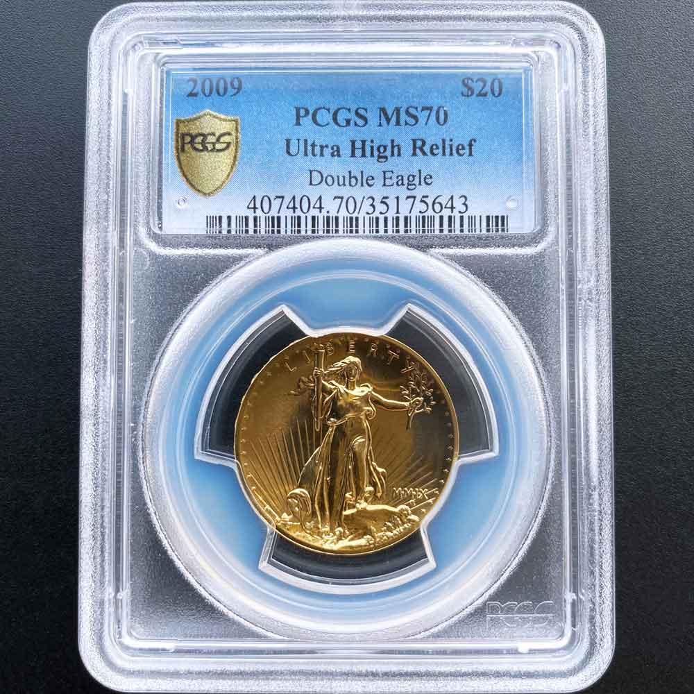 2009 アメリカ ウルトラハイレリーフ ダブルイーグル 20ドル 金貨 1オンス 未使用 PCGS MS 70 最高鑑定 完全未使用品