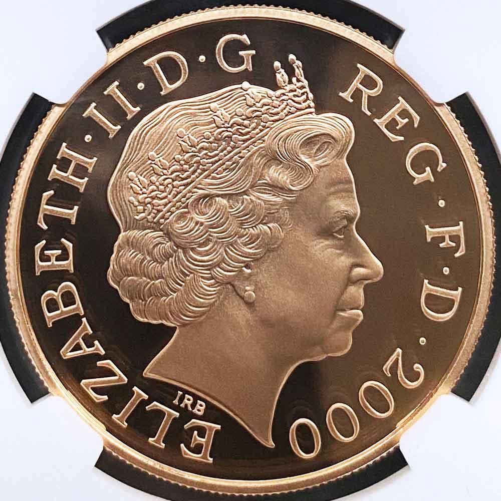 2000 英国 エリザベス王妃 クイーン・マザー 生誕100周年 5ポンド 金貨 プルーフ NGC PF 70 UC 最高鑑定 完全未使用品 元箱付