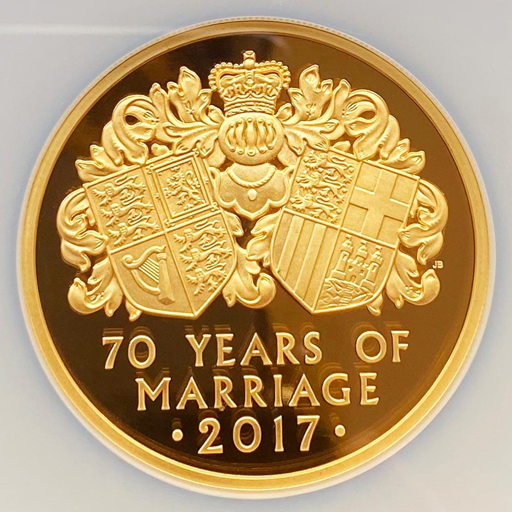 2017 英国 女王エリザベス2世御成婚70周年記念 プラチナ婚式 10ポンド 金貨 5オンス プルーフ NGC PF 70 UC 最高鑑定 完全未使用品 元箱付 世界最安値! イギリス