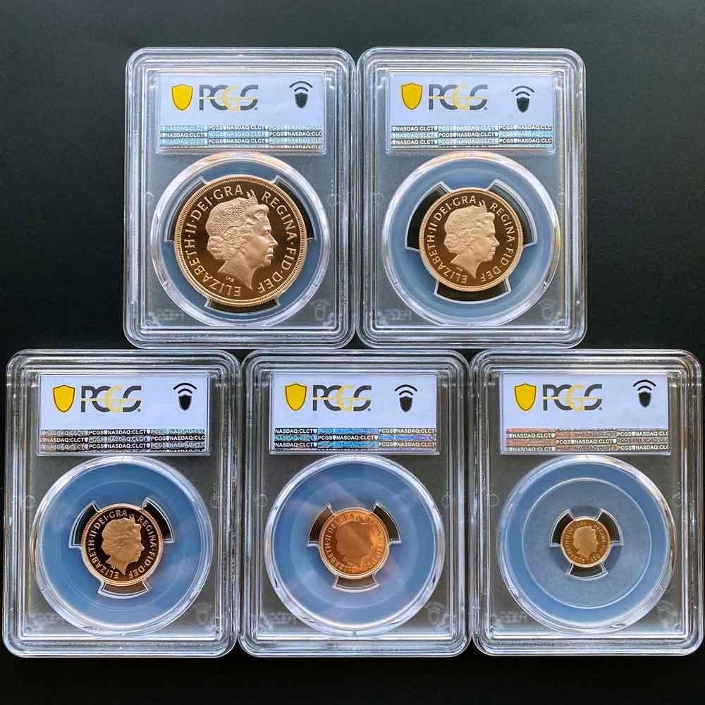 2011 英国 エリザベス2世 ソブリン 金貨5種 プレミアム セット プルーフ PCGS PR 70 DCAM FS 初鋳版 最高鑑定 完全未使用品 世界唯一