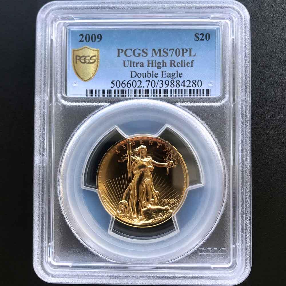 2009 アメリカ ウルトラハイレリーフ ダブルイーグル 20ドル 金貨 1オンス 未使用 PCGS MS 70 PL 最高鑑定 完全未使用品