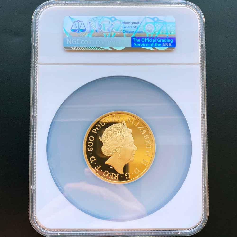 2021 英国 英国紋章の獣コレクション リッチモンドのホワイトグレーハウンド 500ポンド 金貨 5オンス プルーフ NGC PF 70 UC 最高鑑定 完全未使用品 元箱付 イギリス