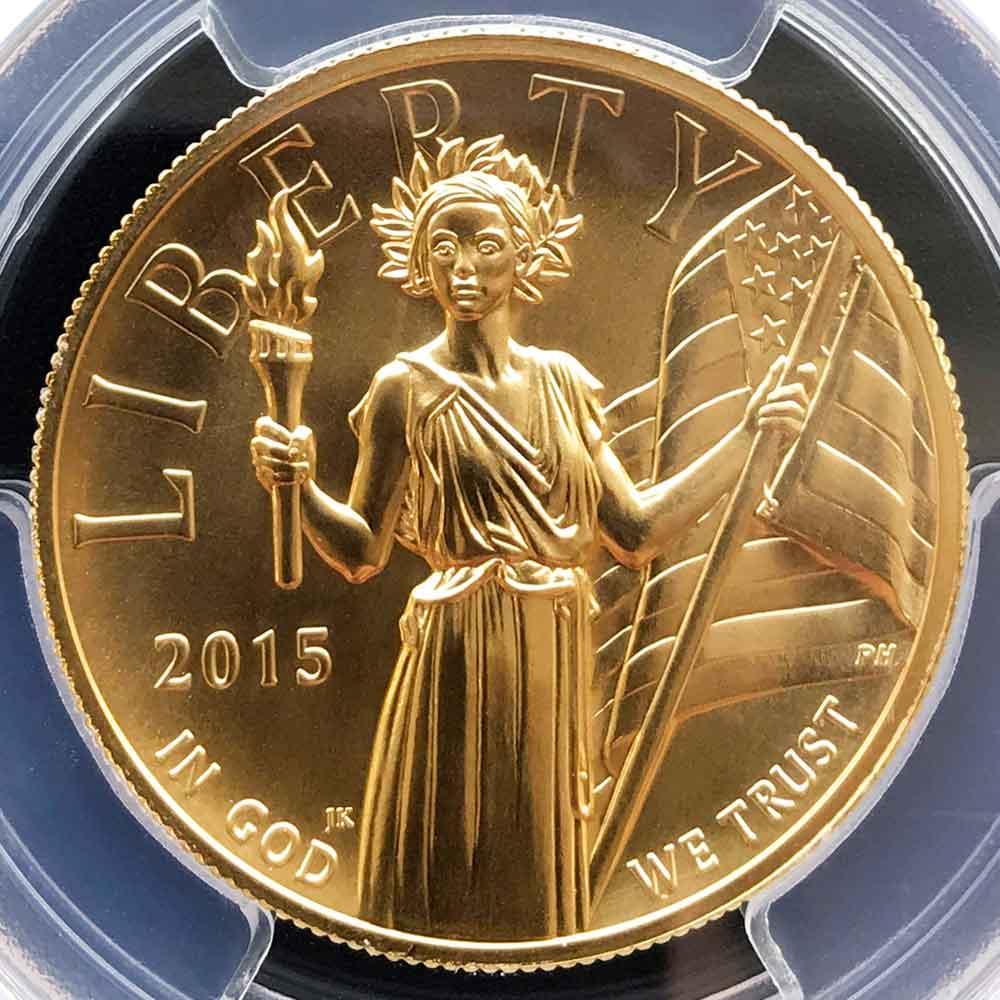 2015 アメリカ ハイレリーフ 自由の女神 リバティ 100ドル 金貨 PCGS MS70 FS クリーブランド ダブルサイン 最高鑑定 鑑定枚数13