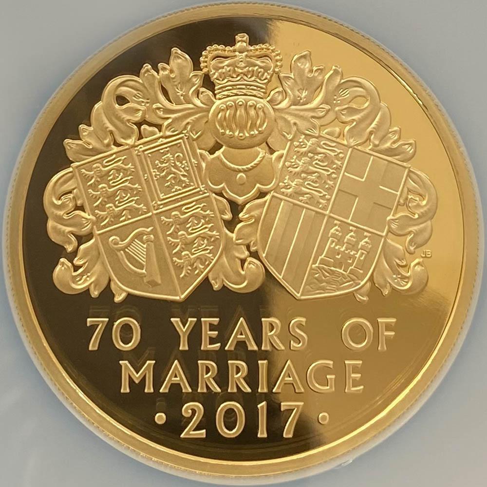 2017 英国 女王エリザベス2世御成婚70周年記念 プラチナ婚式 10ポンド 金貨 5オンス プルーフ NGC PF 70 UC 最高鑑定 完全未使用品 元箱付 世界最安値!