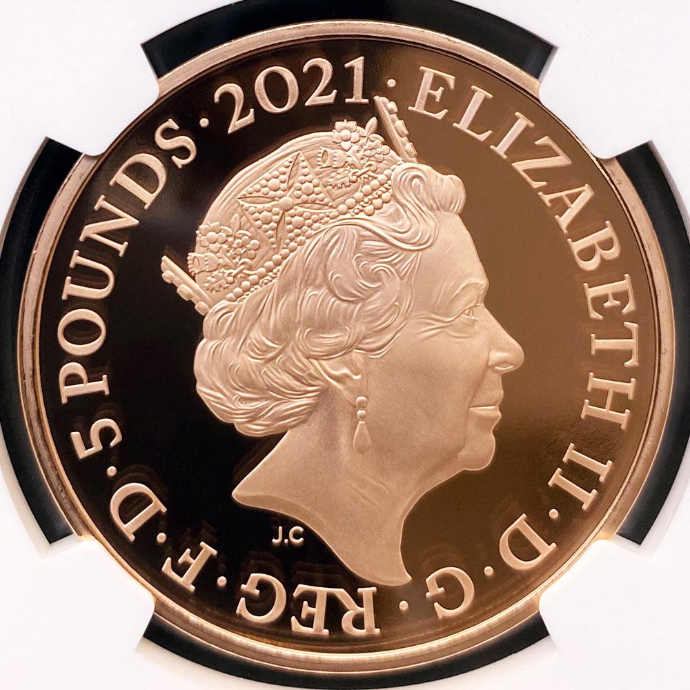 2021 英国 女王エリザベス2世生誕95周年記念 5ポンド 金貨 プルーフ NGC PF 70 UC ER 初鋳版 最高鑑定 完全未使用品 元箱付 日本最安値! イギリス