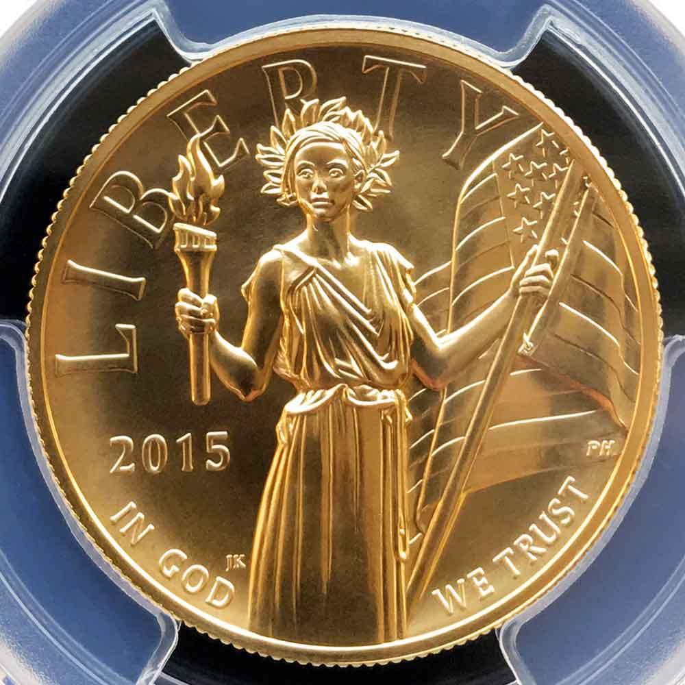 2015 アメリカ ハイレリーフ 自由の女神 リバティ 100ドル 金貨 1オンス 未使用 PCGS MS70 FS クリーブランド ダブルサイン 最高鑑定 鑑定枚数13
