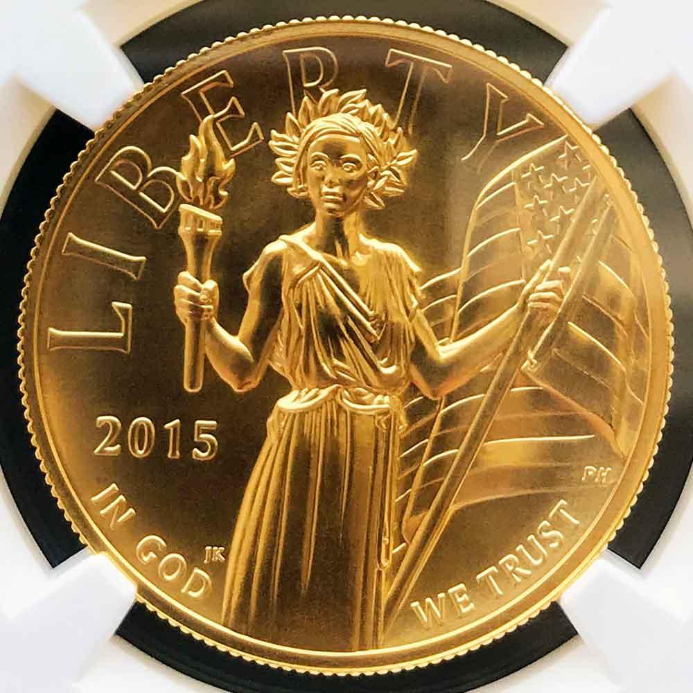 予約済み 2015 アメリカ ハイレリーフ 自由の女神 リバティ 100ドル 金貨 1オンス 未使用 NGC MS70 ER 初鋳版 最高鑑定 完全未使用品