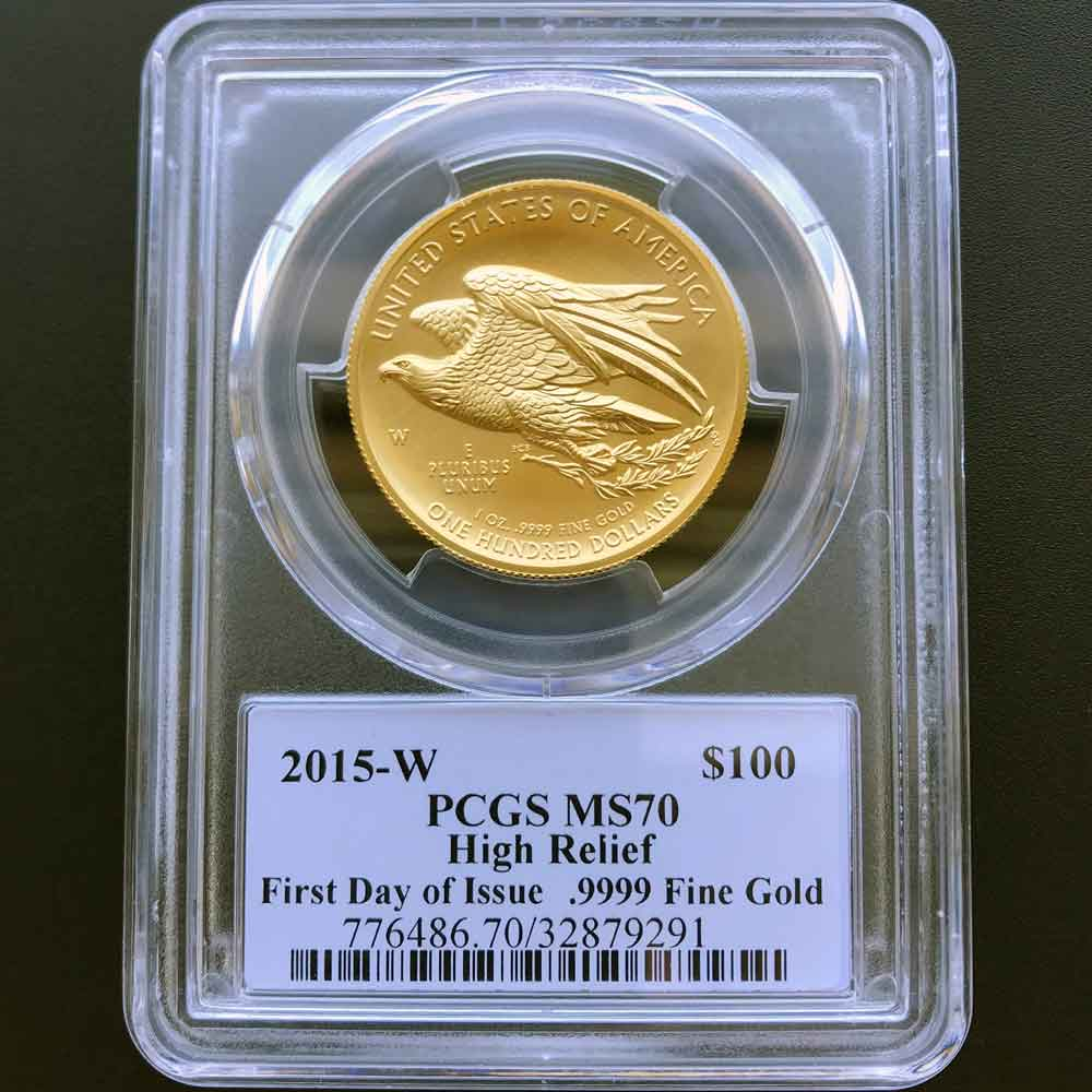 2015 アメリカ ハイレリーフ 自由の女神 リバティ 100ドル 金貨 1オンス 未使用 PCGS MS70 FDOI 初鋳版 最高鑑定 完全未使用品 ジョン・メルカンティ サイン 世界唯一