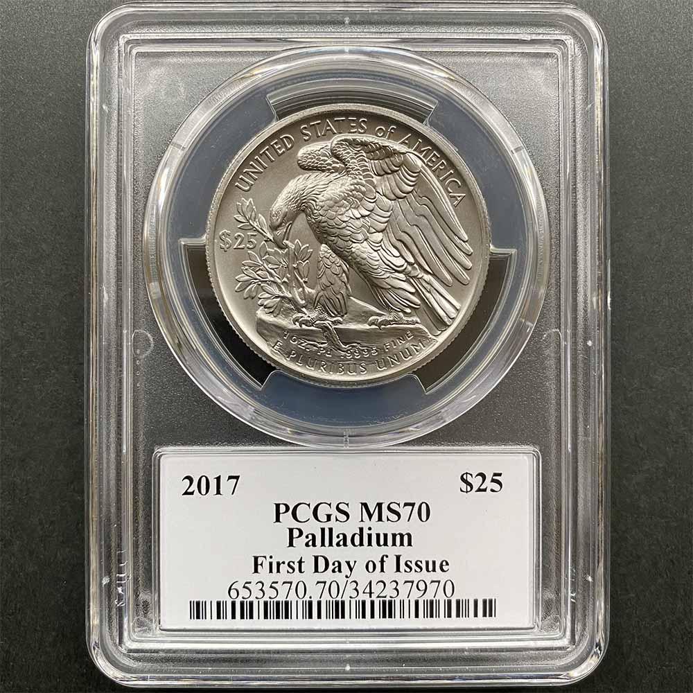 2017 アメリカ イーグル 25ドル パラジウム貨 1オンス 未使用 PCGS MS 70 FDOI 初鋳版 最高鑑定 自由の女神 ジョン・メルカンティ サイン