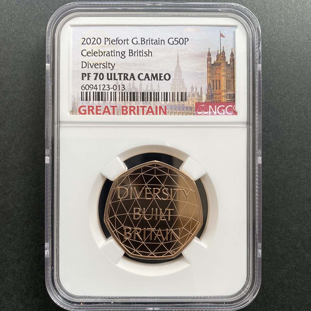 2020 英国 多様性を讃えて 50ペンス ピエフォー 金貨 プルーフ NGC PF 70 UC 最高鑑定 完全未使用品 元箱付 世界最安値!イギリス