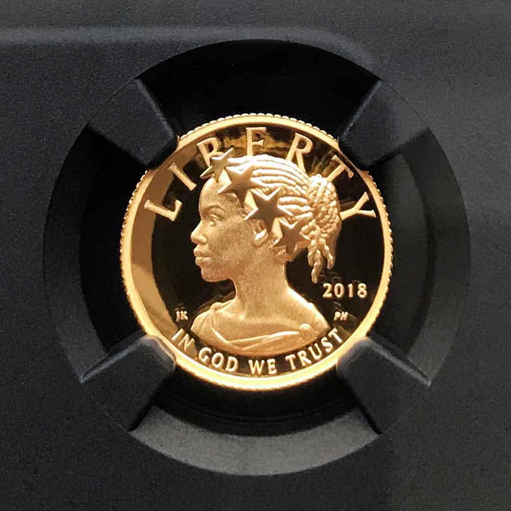 2018 アメリカ ハイレリーフ 自由の女神 10 ドル 金貨 1/10 オンス プルーフ NGC PF 70 UC ER 初鋳版 最高鑑定 元箱付 完品