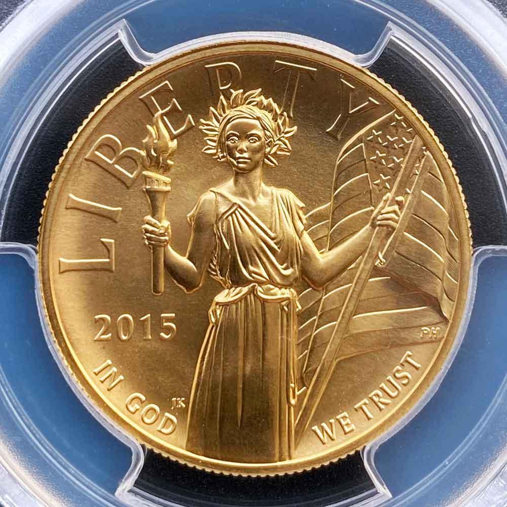 2015 アメリカ ハイレリーフ 自由の女神 リバティ 100ドル 金貨 1オンス 未使用 PCGS MS70 FS 初鋳版 最高鑑定 ジョン・メルカンティ エドモンド・C・モイ サイン ダブルサイン