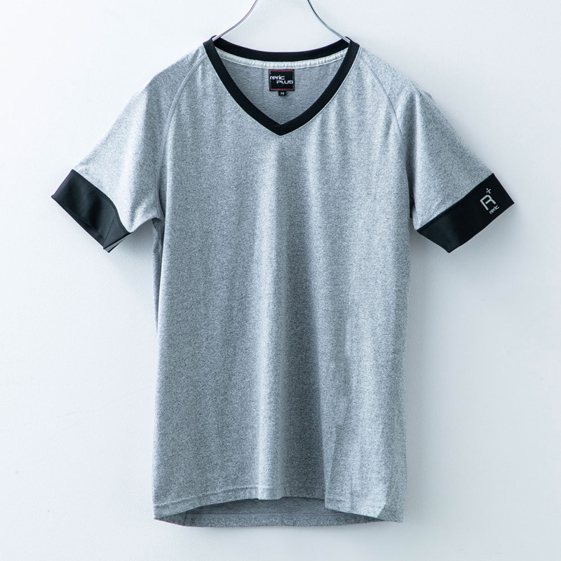 レリック プラス  VネックTシャツ ライトグレー
