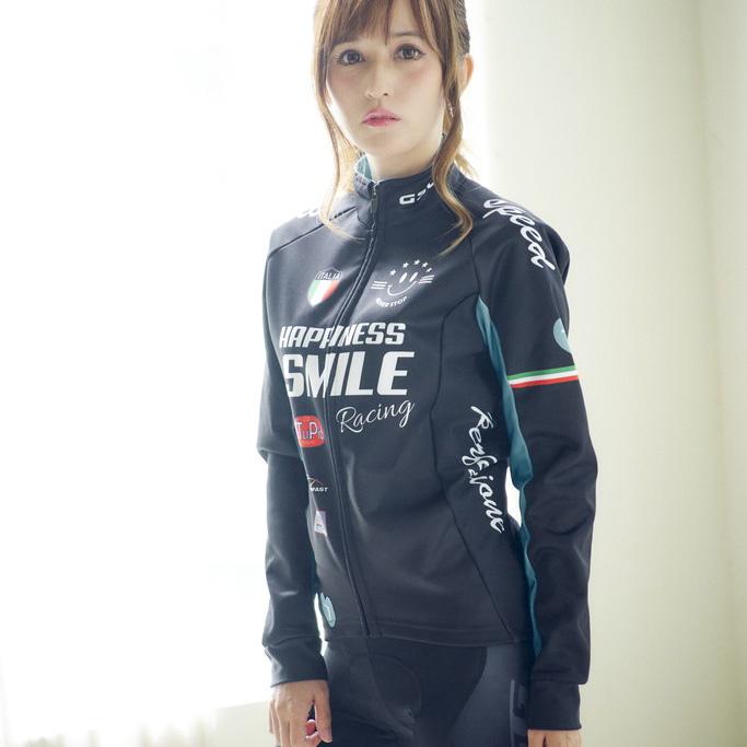 セブンイタリア Racing Smile Lady Jacket ブラック/グリーン レディース