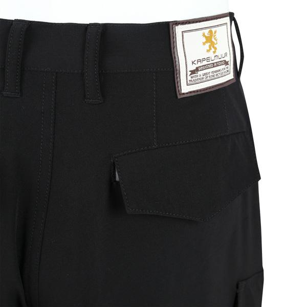 カペルミュール 裾ベルト付き クロップドパンツ ブラック