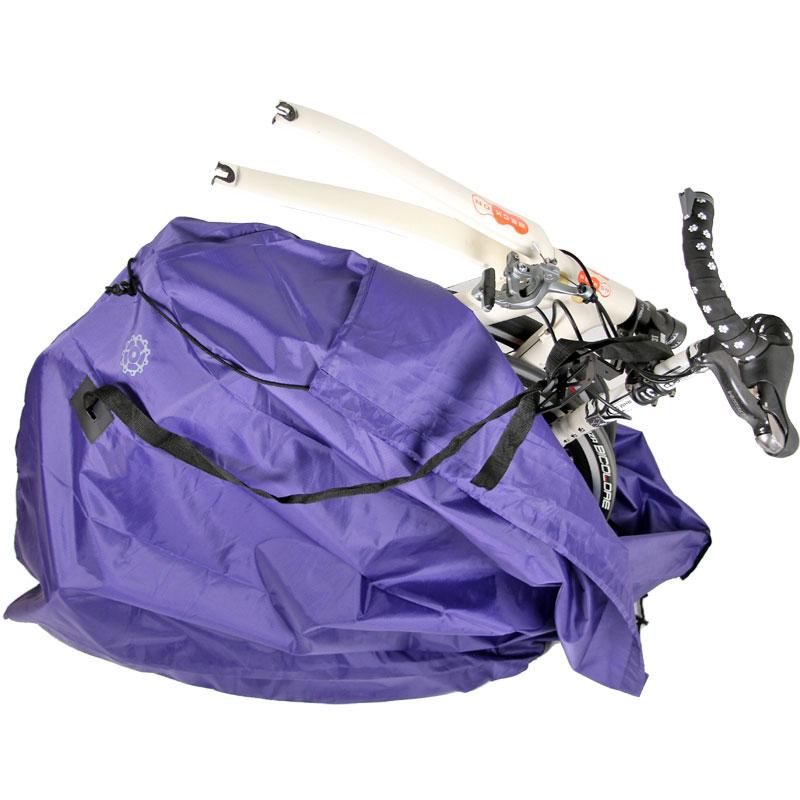 【特急】R250 ディスクブレーキ用 縦型軽量輪行袋 江戸紫 フレーム/スプロケットカバー・輪行マニュアル ダミーローター・12mmスルーアクスル用エンド金具付属 パープル
