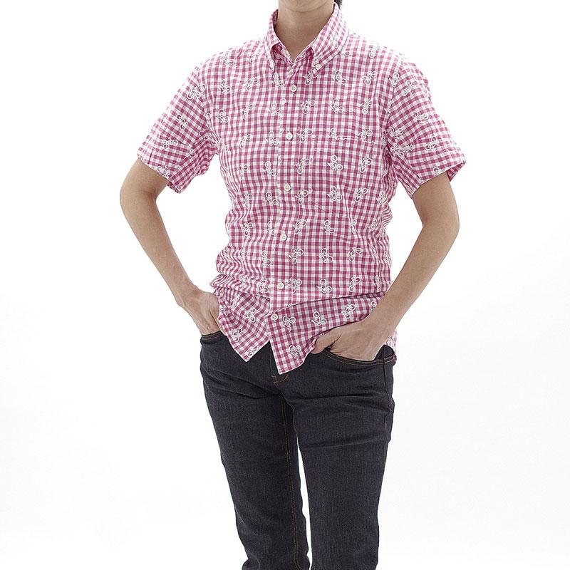 ロコゴワ 半袖自転車シャツ ダークピンクチェック メンズ