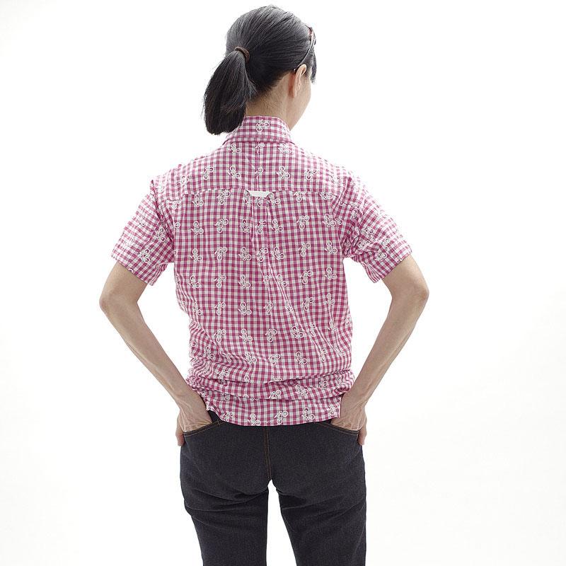ロコゴワ 半袖自転車シャツ ネイビーチェック メンズ
