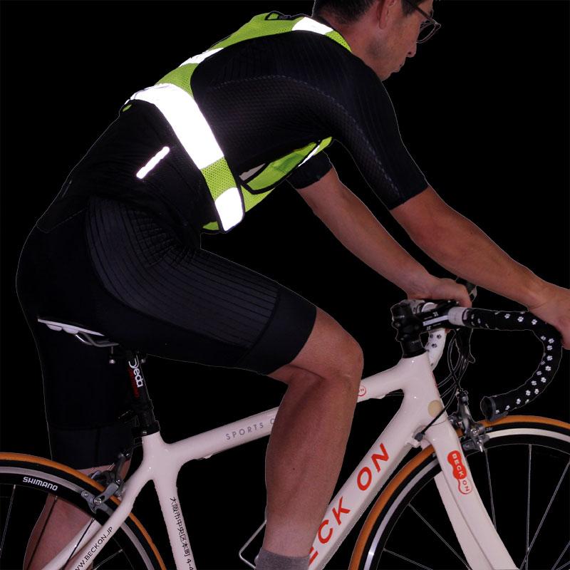 【特急】【M便】R250 サイクル反射ベスト-ライト ネオンイエロー フリーサイズ