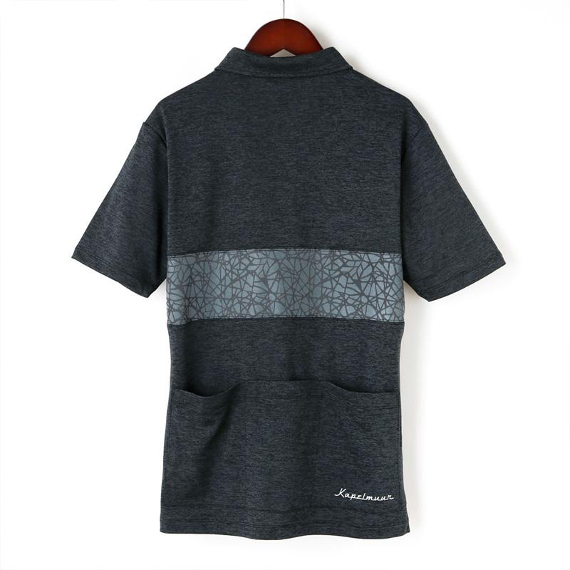 カペルミュール 半袖ドライポロシャツ クラックプリント チャコール KAPELMUUR