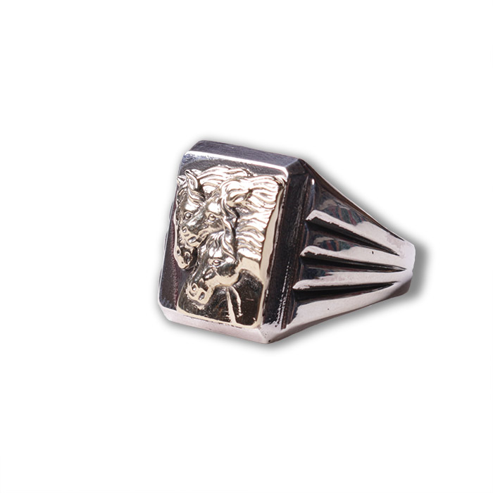 PHARAOHS HORSES RING square silver×K10