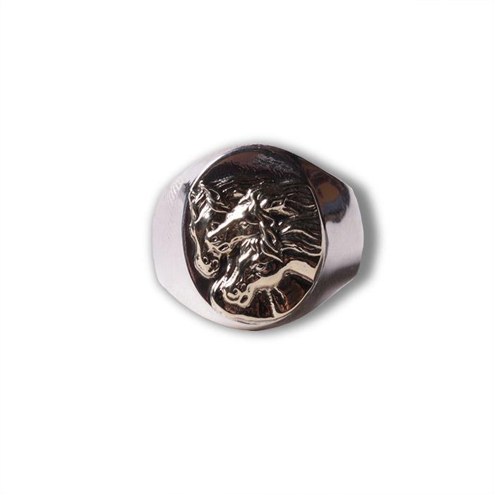 PHARAOHS HORSES oval S silver×K10