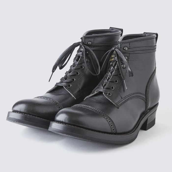 AB-02CH HORSEHIDE CAP TOE LACE-UP BOOTS