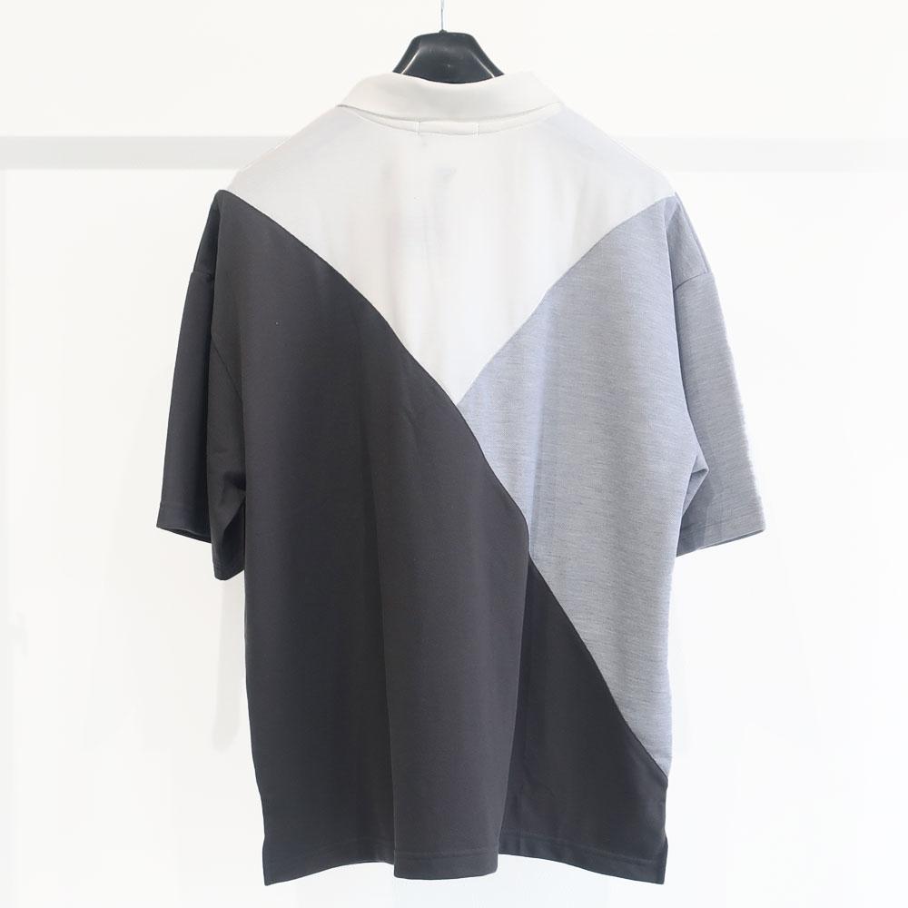 大胆な切り替えデザインのゆったりポロシャツ