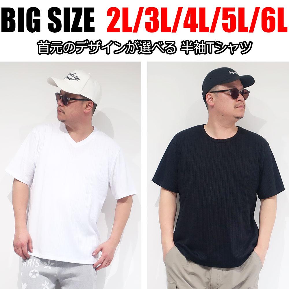大きいサイズ 程よいフィット感のテレコ半袖Tシャツ