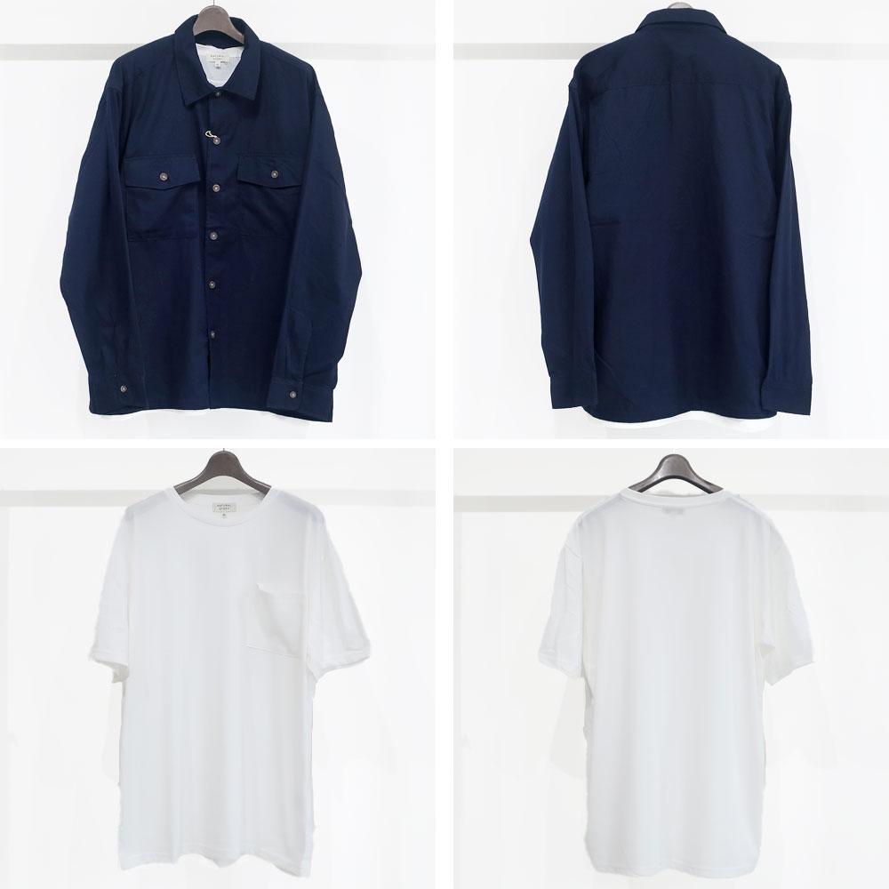 [お得な2枚セット]ゆったりCPOシャツ+半袖無地Tee