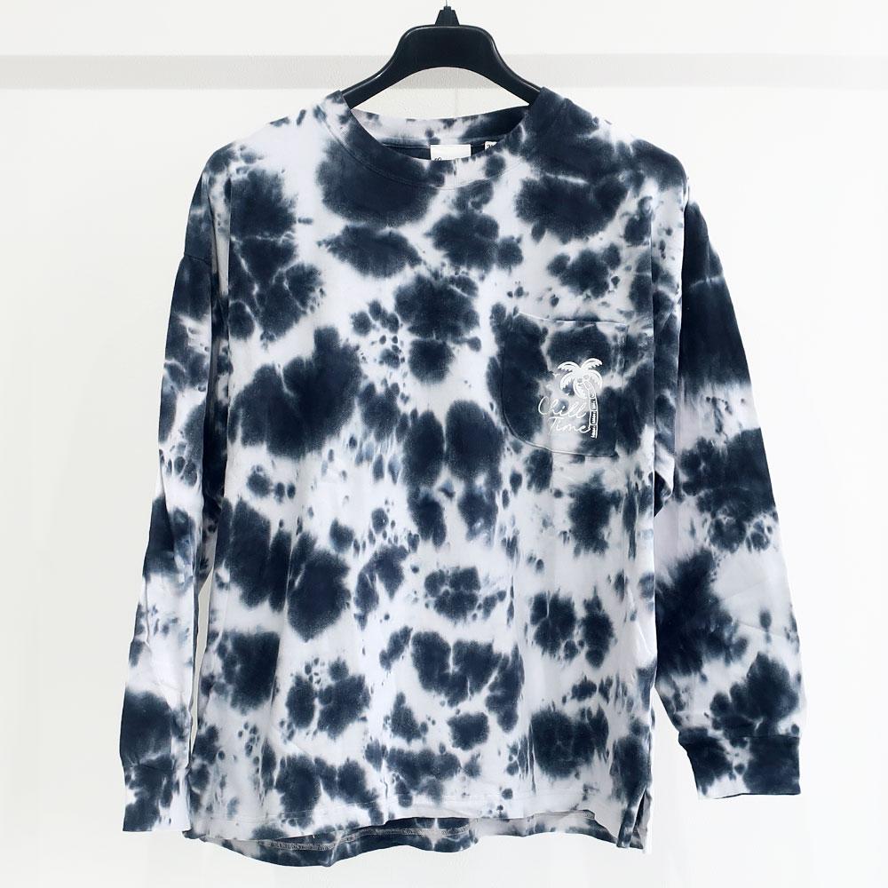タイダイ染め胸ポケット長袖Tシャツ