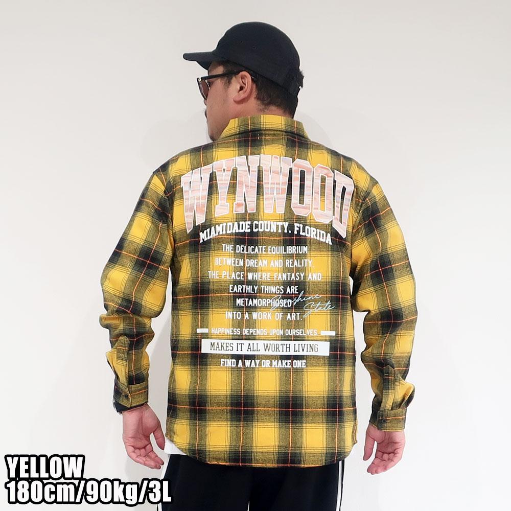 インパクト大なバックデザイン 長袖チェックネルシャツ