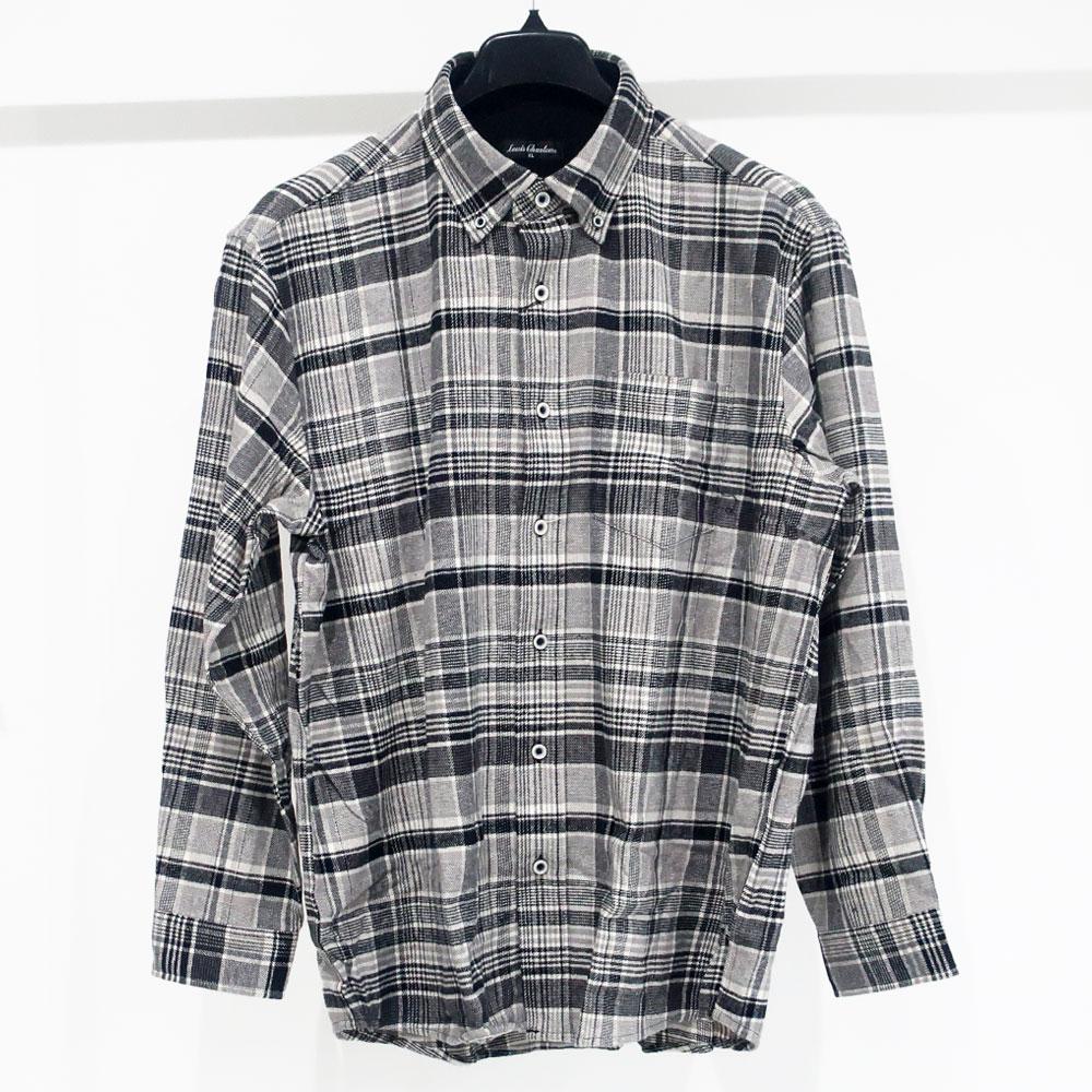 大人が似合うモノトーンカラー長袖チェックシャツ