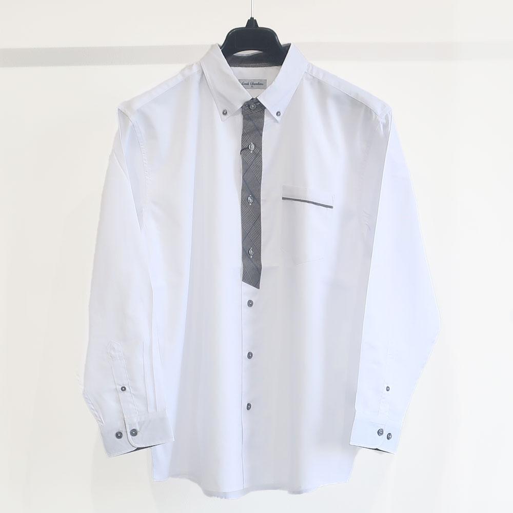 ドビーB/Dフェイクタイ&二枚衿長袖シャツ