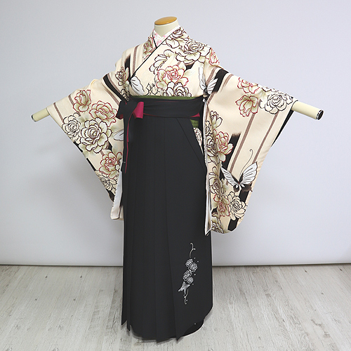 格安!袴レンタル 成人式 卒業式 黒 茶色 バラ【送料無料】st23