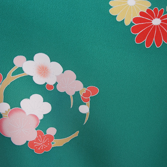 格安!着物・七五三レンタル 7歳女児 グリーン地 サクラ 【送料往復880円】2004-31