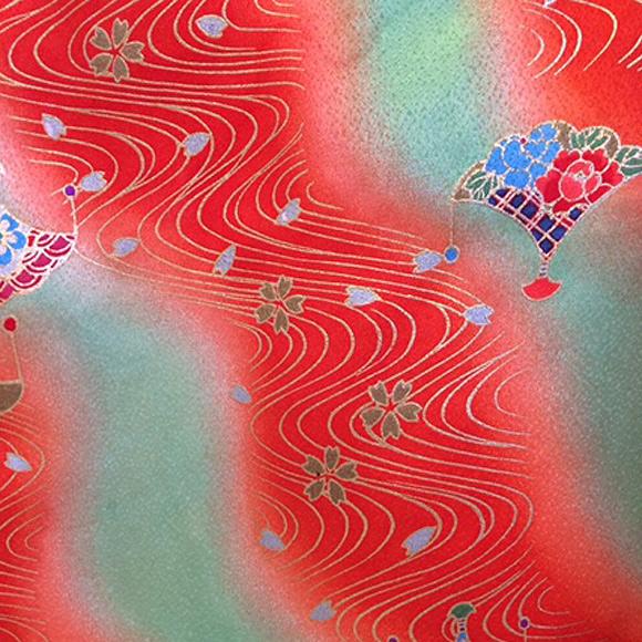 着物 七五三 レンタル フルセット 七五三衣裳 女児 3才 被布 流水(赤/緑) 【送料往復880円】HI0005