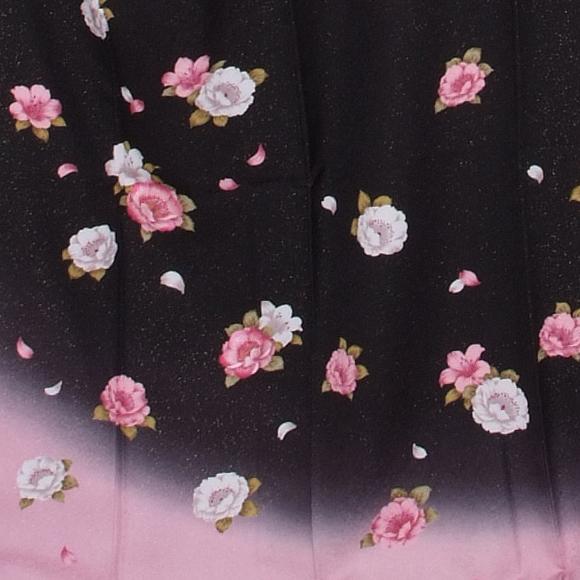 格安!振袖レンタル 成人式  黒地ピンクにぼかしの花 【送料無料】【試着可能】51117