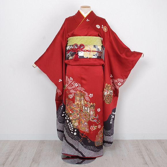 格安!振袖レンタル(2〜11月) 卒業式 結婚式 赤色 御所車【送料無料】【試着可能】51009