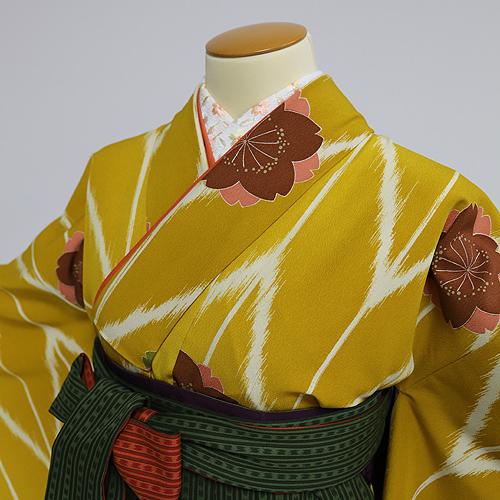 格安!袴レンタル 成人式 卒業式 カラシ桜グリーン L 【送料無料】 st02