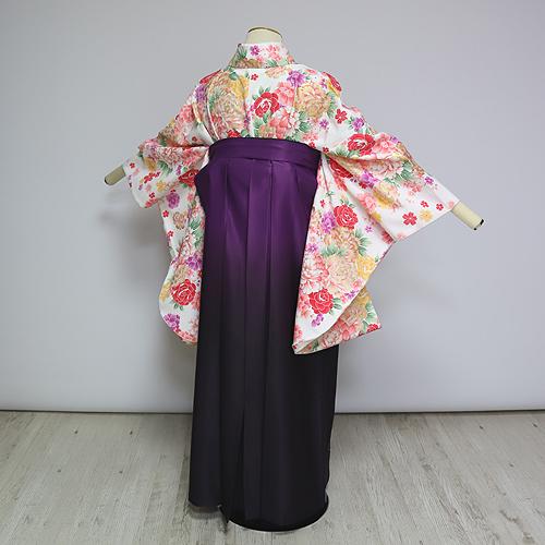格安!袴レンタル 成人式 卒業式 白地牡丹 紫グラデ花束 2.5 【送料無料】 st28