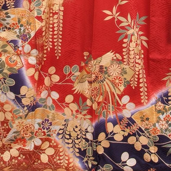 格安!振袖レンタル(2〜11月) 卒業式 結婚式 赤 紺色 下がり藤【送料無料】【試着可能】51031