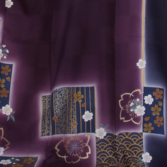 格安!振袖レンタル 成人式 紫 青色 色紙【送料無料】【試着可能】51008