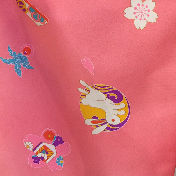 着物 七五三 レンタル フルセット 七五三衣裳 女児 3才 被布 ピンクウサギ【送料往復880円】HI0011