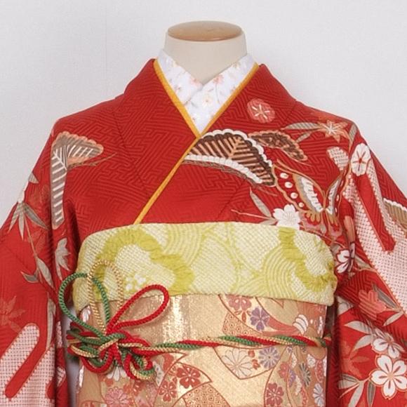 格安!振袖レンタル(2〜11月) 卒業式 結婚式 赤色 かごめ【送料無料】【試着可能】51035