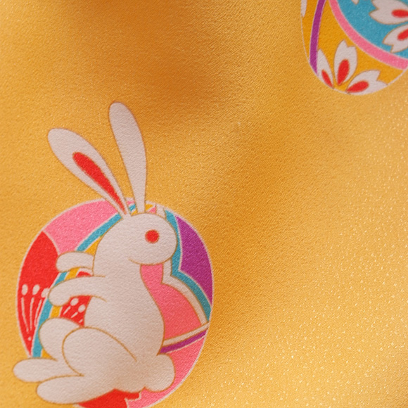 着物 七五三 レンタル フルセット 七五三衣裳 女児 3才 被布 黄ウサギ  【送料往復880円】HI0012