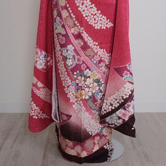 格安!振袖レンタル 成人式  ピンクのしめ裾黒 【送料無料】【試着可能】51127
