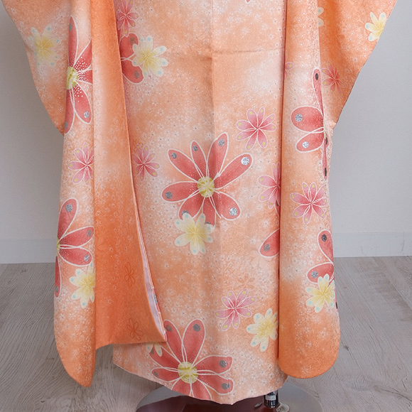 格安!振袖レンタル 成人式  オレンジ花柄 【送料無料】【試着可能】51129